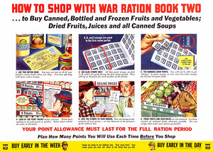 How To Shop With War Ration - 1943 - World War II - Propaganda Poster