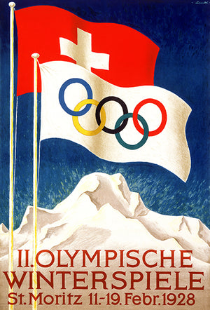 II Olympics Winter Games - St Moritz - 1928 - Advertising Poster