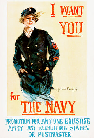 I Want You For The Navy - 1917 - World War I - Recruitment Poster