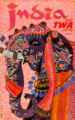 India - Fly TWA Jets - 1960's - Travel Poster
