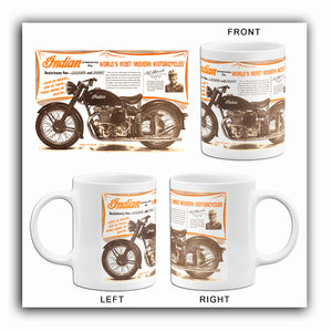 Indian - World's Most Modern Motorcycles - 1948 - Promotional Advertising Mug