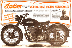 Indian - World's Most Modern Motorcycles - 1948 - Promotional Advertising Poster