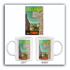 Ireland - Fly TWA - 1960's - Travel Poster Mug