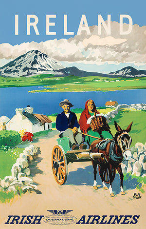Ireland - Irish International Airlines - 1960's - Travel Poster