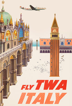 Italy - Fly TWA - 1960's - Travel Poster Magnet
