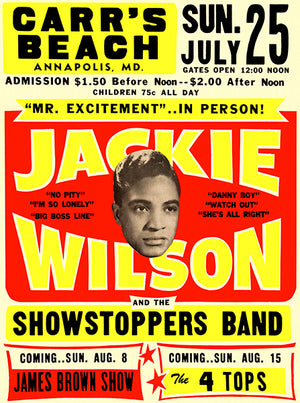 Jackie Wilson - Mr. Excitement - 1965 - Carr's Beach MD - Concert Poster