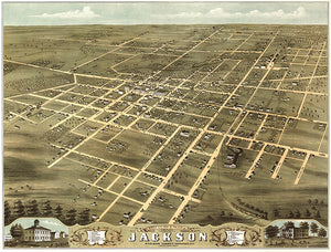 Jackson, Tennessee - 1870 - Aerial Bird's Eye View Map Poster