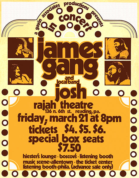 James Gang - 1975 - Rajah Theatre - Reading PA - Concert Poster