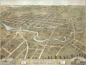 Jamestown, New York - 1871 - Aerial Bird's Eye View Map Poster