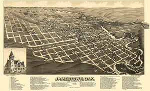 Jamestown, North Dakota - 1883 - Aerial Bird's Eye View Map Poster
