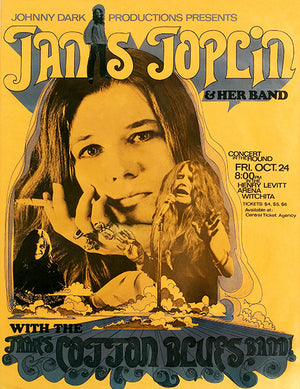 Janis Joplin - James Cotton - 1969 - Witchita - Concert Poster