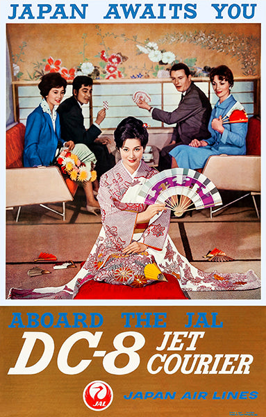 Japan Awaits You - DC-8 Jet Courier - Japan Air Lines - 1960 - Travel Poster