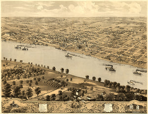 Jefferson City, Missouri - 1869 - Aerial Bird's Eye View Map Poster