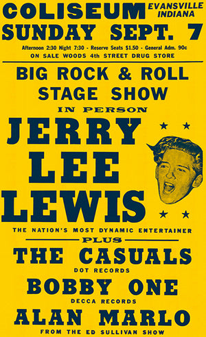 Jerry Lee Lewis - 1958 - Evansville IN - Concert Magnet