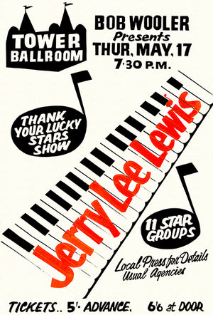Jerry Lee Lewis - 1962 - Tower Ballroom - Concert Poster