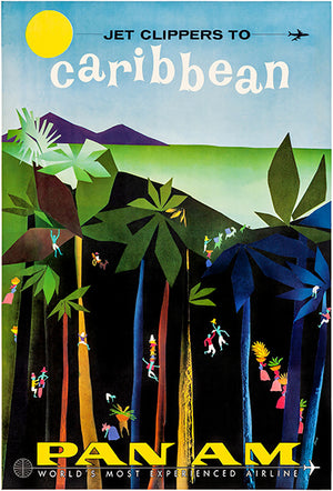 Jet Clippers To Caribbean - Pan Am - 1958 - Travel Poster