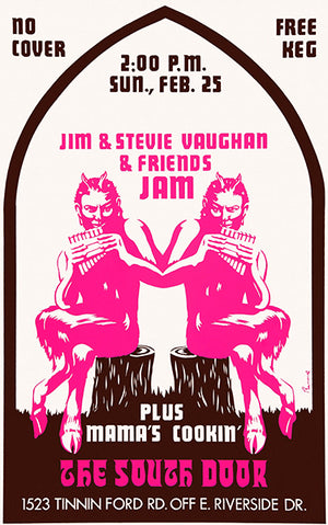 Jim & Stevie Vaughn & Friends Jam - 1973 - Austin TX - Concert Poster
