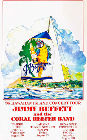 Jimmy Buffett & The Coral Reefer Band - Hawaiian Island Tour - 1986 - Concert Poster