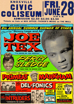 Joe Tex - Percy Sledge - The Del-Fonics - 1968 - Knoxville TN - Concert Poster