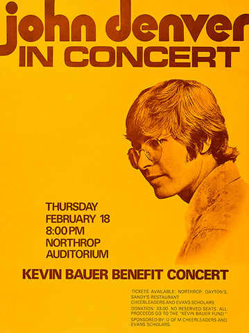 John Denver In Concert - 1971 - Northrop Auditorium - Concert Poster
