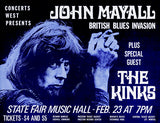 John Mayall - The Kinks - Texas - 1970 - Concert Poster