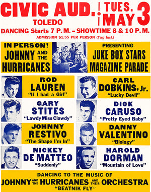 Johnny & The Hurricanes - 1960 - Concert Poster
