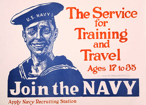 Join The Navy - Training & Travel - Philadelphia - Patriotic Poster