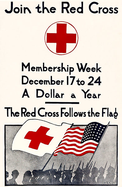 Join The Red Cross - Follows The Flag - 1918 - World War I - Propaganda Poster