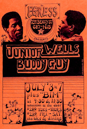 Junior Wells - Buddy Guy - 1973 - The Egress - Concert Poster
