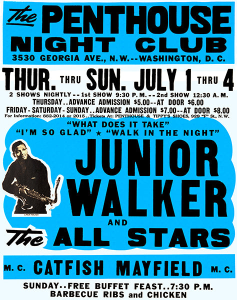 Junior Walker & The All Stars - 1965 - Penthouse Night Club - Concert Poster