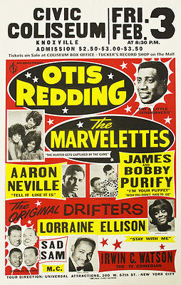 Otis Redding - The Marvelettes - 1967- Knoxville Civic Auditorium Concert Poster
