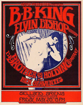 BB King - Elvin Bishop - Big Brother & the Holding Company - 1971 Concert Poster