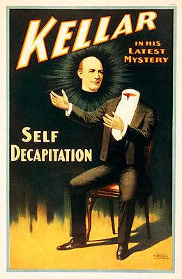 Magician Harry Kellar in His Latest Mystery: Self Decapitation - Show Poster Magnet