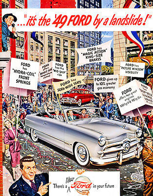 "1949 Ford ""It's the '49 Ford by a Landslide!"" - Promotional Advertising Poster"