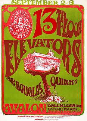 13th Floor Elevators - Sir Douglas Quintet - 1966 - Avalon Ballroom - Concert Poster