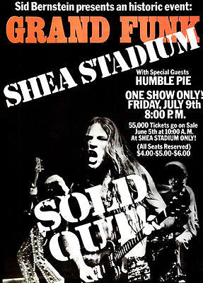 Grand Funk Railroad - Humble Pie - Shea Stadium - 1971 Concert Poster