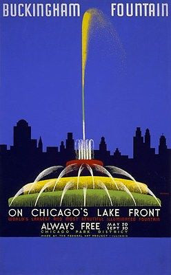 1939 WPA Buckingham Fountain on Chicago's Lake Front - Poster