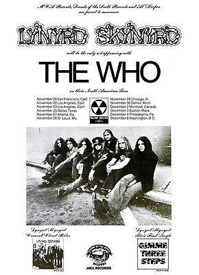 Lynyrd Skynyrd - 1973 - The Who - Concert Tour Promotional Magnet