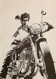 Bob Dylan on Norton Motorcycle - Poster