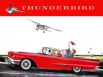 1958 Ford Thunderbird Convertible - Promotional Advertising Poster
