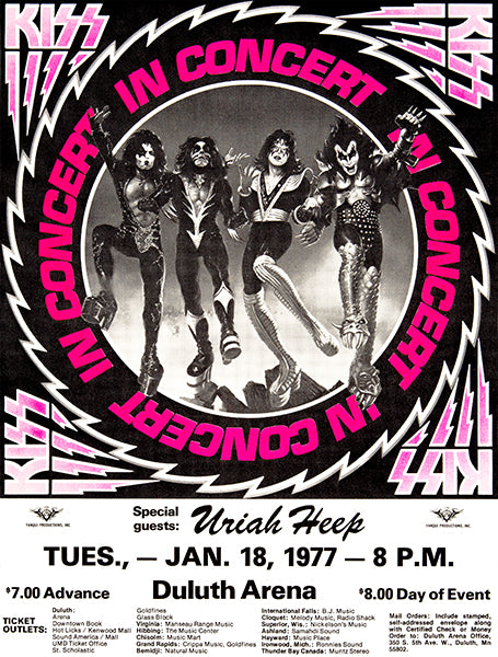 KISS - Duluth MN - 1977 - Concert Poster