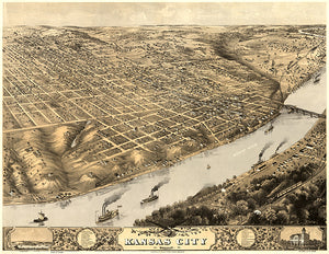 Kansas City, Missouri - 1869 - Aerial Bird's Eye View Map Poster