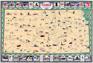 Kansas - 1930 - Pictorial Map Poster