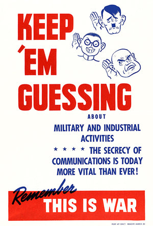Keep 'Em Guessing Military Industrial Activities - 1940 - World War II - Propaganda Mug