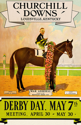 Kentucky Derby - Churchill Downs - 1938 - Horse Race Poster