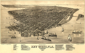 Key West, Florida - 1884 - Aerial Bird's Eye View Map Poster