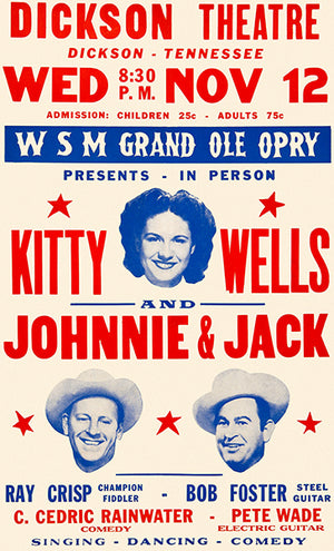 Kitty Wells - Johnnie & Jack - 1958 - Dickson TN - Concert Poster