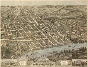 Knoxville, Tennessee - 1871 - Aerial Bird's Eye View Map Poster