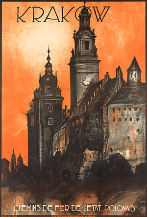 Krakow - Polish Railways - 1930's - Travel Poster Magnet