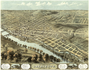 Lafayette, Indiana - 1868 - Aerial Bird's Eye View Map Poster